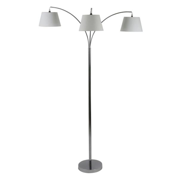 Ashbury 75 in. Chrome Floor Lamp with Shade