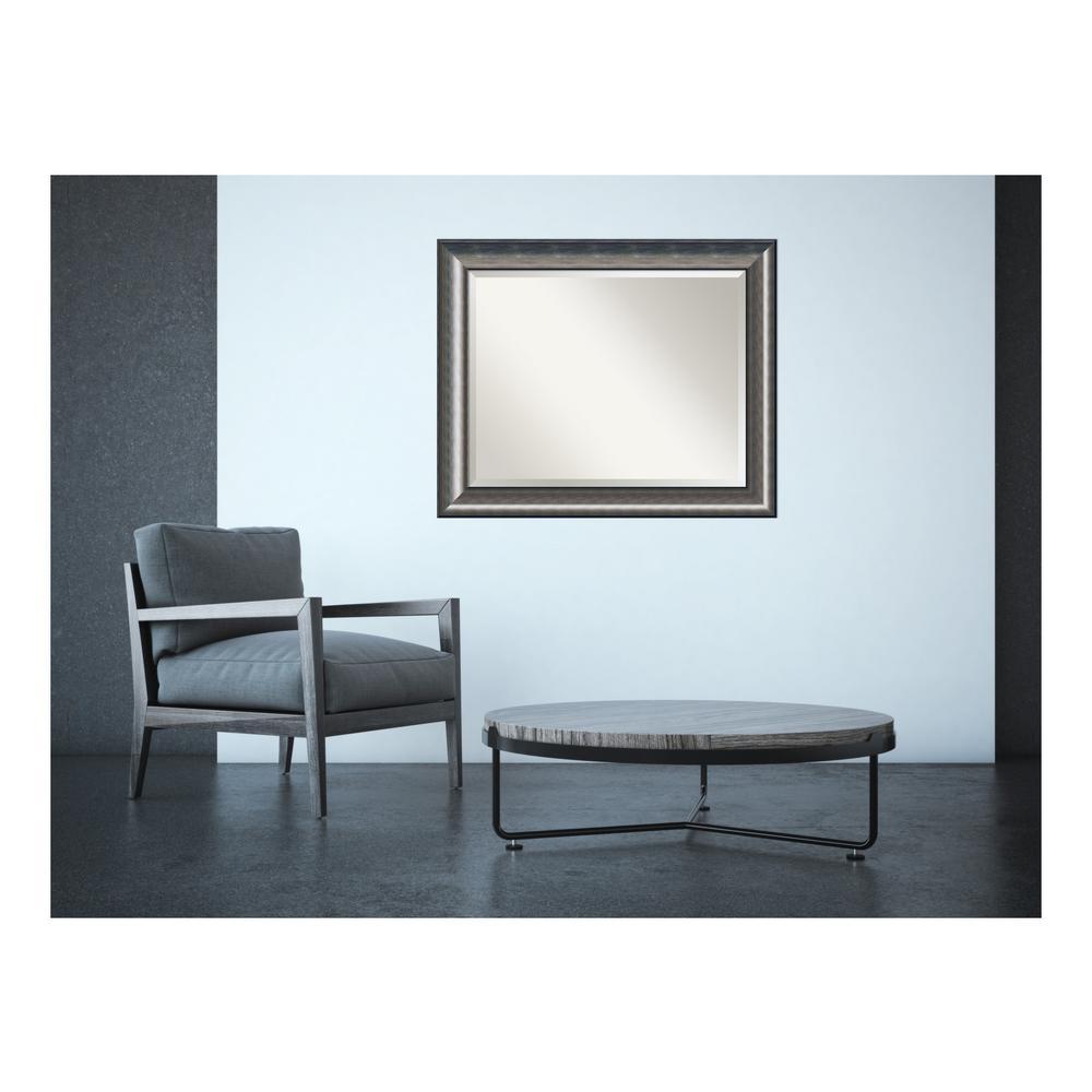 Medium Rectangle Metallic Silver Casual Mirror (27.63 in. H x 33.63 in. W)