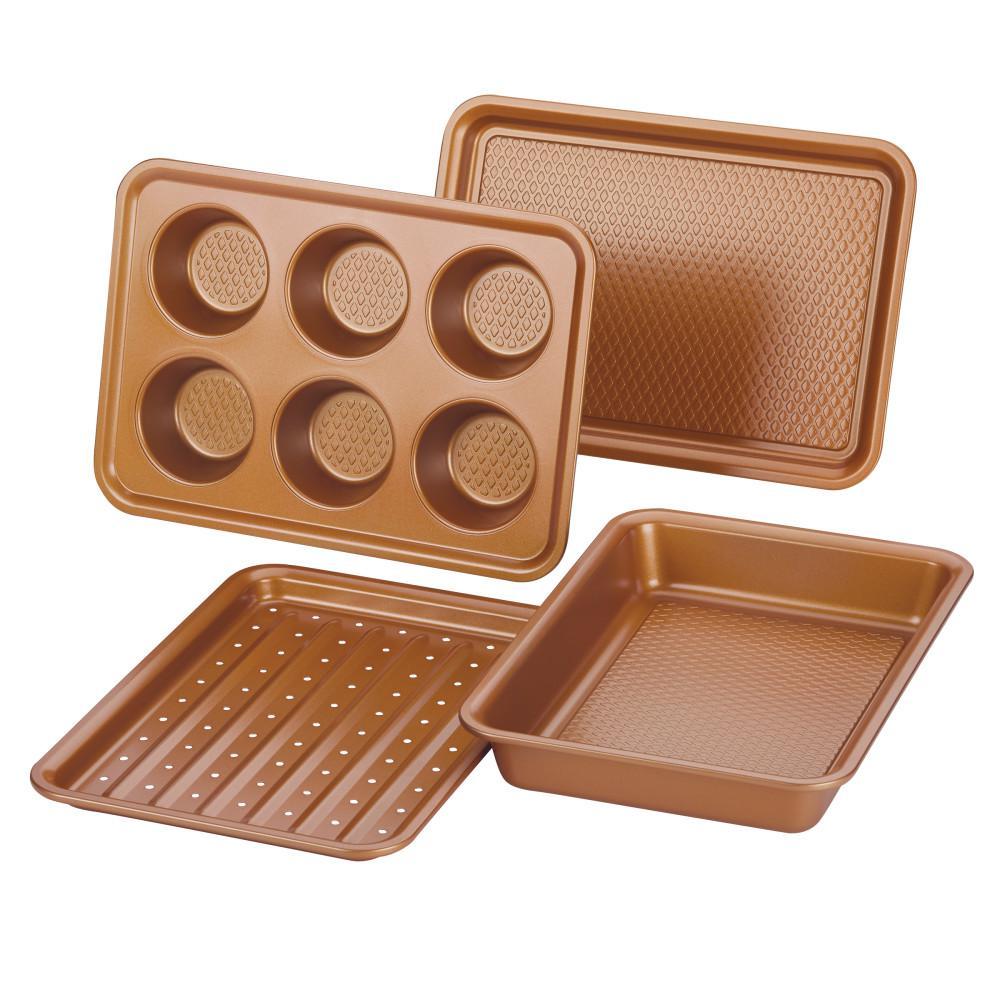 Ayesha Bakeware Toaster Oven Baking Set, Copper, 4-Piece