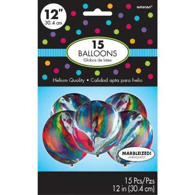 12 in. Multicolored Marble Latex Balloons (15-Count, 6-Pack)