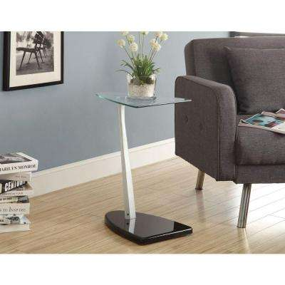 Black and Silver Glass Top End Table