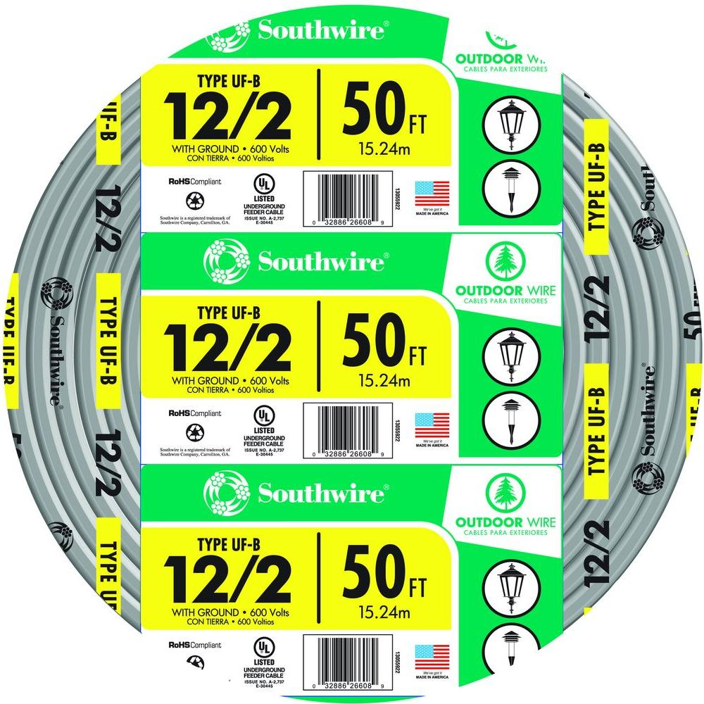 Southwire 50 ft. 12/2 Gray Solid CU UF-B W/G Wire-13055922 - The ...