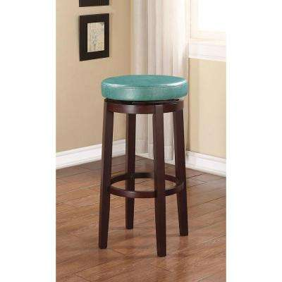 Maya 29 in. Teal and Brown Cushioned Bar Stool