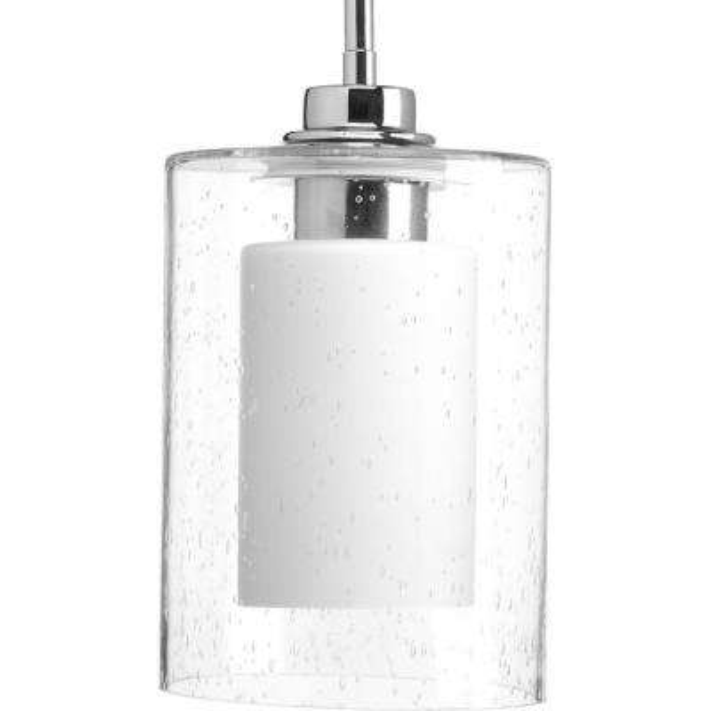 Double Glass 1-Light Polished Chrome Pendant