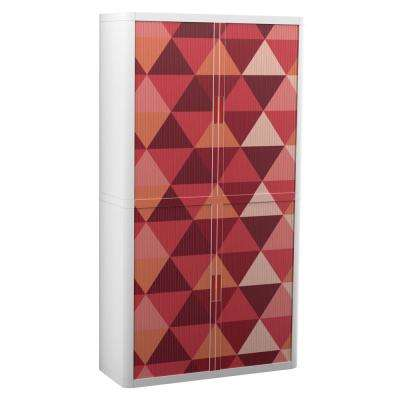 Paperflow easyOffice 80 in. Tall with 4-Shelves Storage Cabinet in Maroon Triangles
