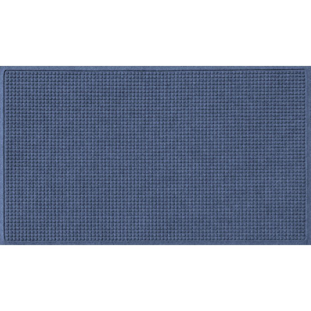 Navy 36 in. x 120 in. Squares Polypropylene Door Mat