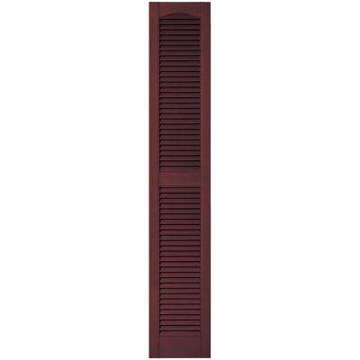 12 in. x 67 in. Louvered Vinyl Exterior Shutters Pair in #167 Bordeaux