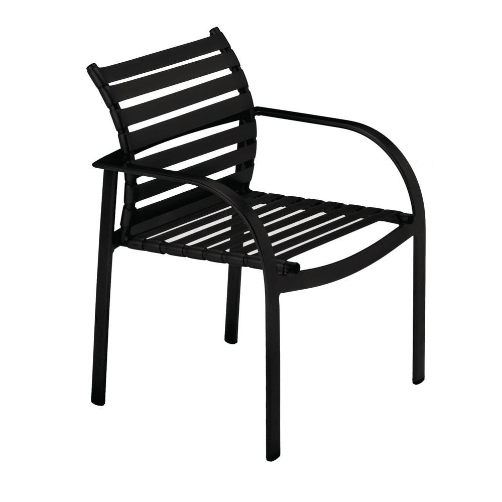 Tradewinds Scandia Black Commercial Strap Patio Dining Chair (2-Pack)