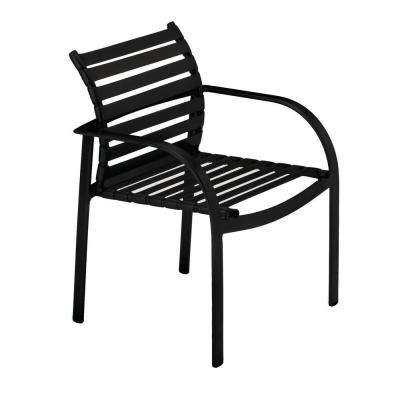 Scandia Black Commercial Strap Patio Dining Chair (2-Pack)