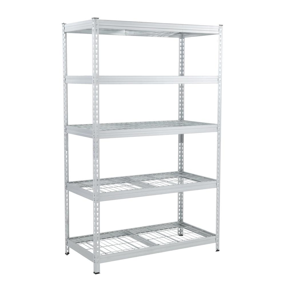 Husky Husky 78 in. H x 48 in. W x 24 in. D Galvanized Steel 5-Tier Shelf with Wire Mesh Panels, gavanised