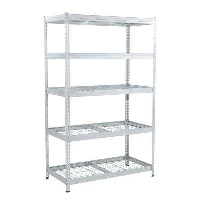 78 in. H x 48 in. W x 24 in. D Galvanized Steel 5-Tier Shelf with Wire Mesh Panels