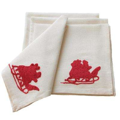 20 in. Santa Crewel Embroidery Holiday Napkins (4-Set)