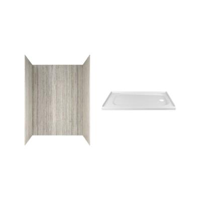Passage 60 in. x 72 in. 2-Piece Glue-Up Alcove Shower Wall and Base Kit with Right Hand Drain in Pewter Travertine
