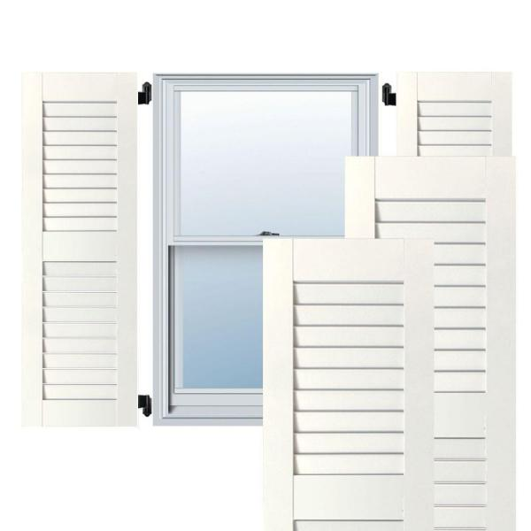 Ekena Millwork 15 In X 52 In Exterior Real Wood Western Red Cedar Open Louvered Shutters Pair White Rwl15x052whw The Home Depot