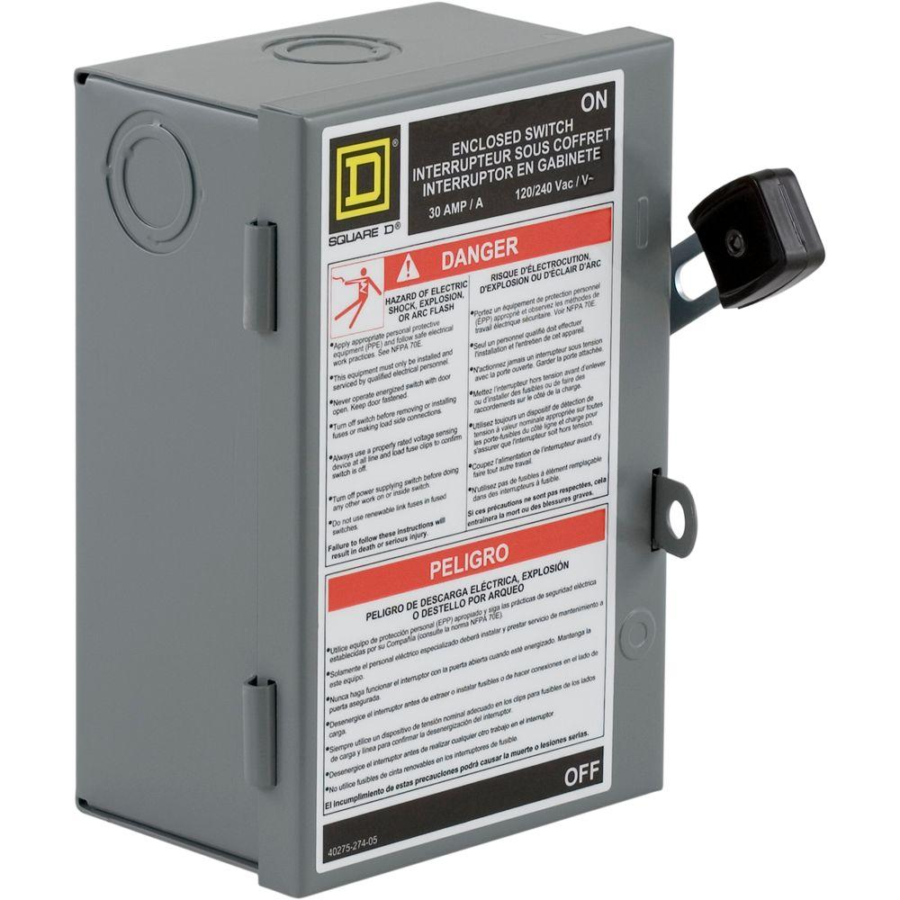 Square D 30 Amp 240-Volt 2-Pole Fused Indoor Light Duty Safety ...