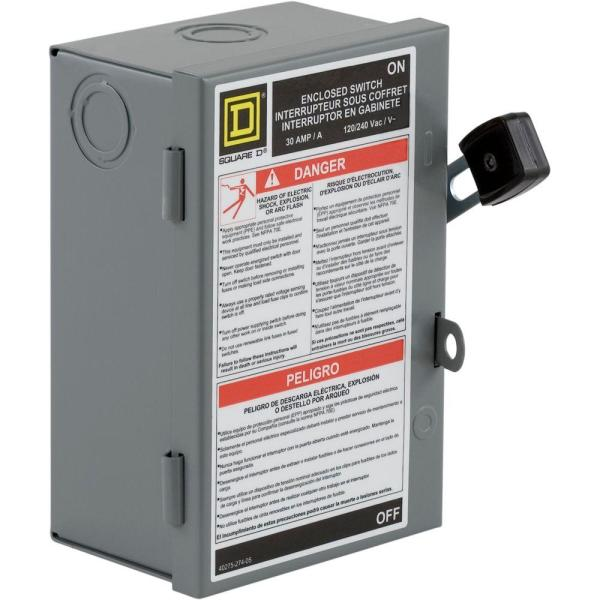 square d 30 amp 240-volt 2-pole fused indoor light duty safety switch for h  or j fuse types-l221n - the home depot  the home depot