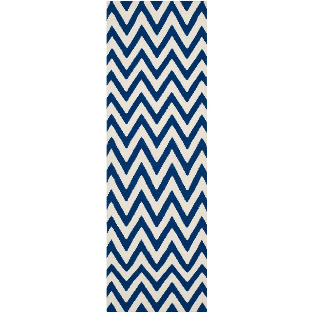 Dhurries Dark Blue/Ivory 2 ft. 6 in. x 8 ft. Runner