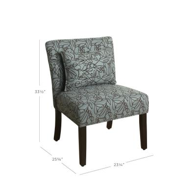 Parker Teal Swirl Pattern with Matching Lumbar Pillow Accent Chair