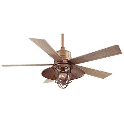 Grayton 54 in. LED Indoor/Outdoor Rustic Copper Ceiling Fan with Clear Glass Shade