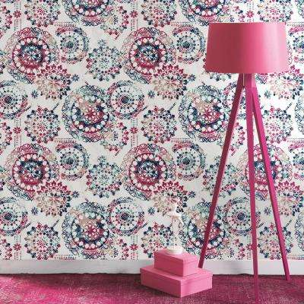 28.18 sq. ft. Bohemian Pink/Blue Peel and Stick Wallpaper