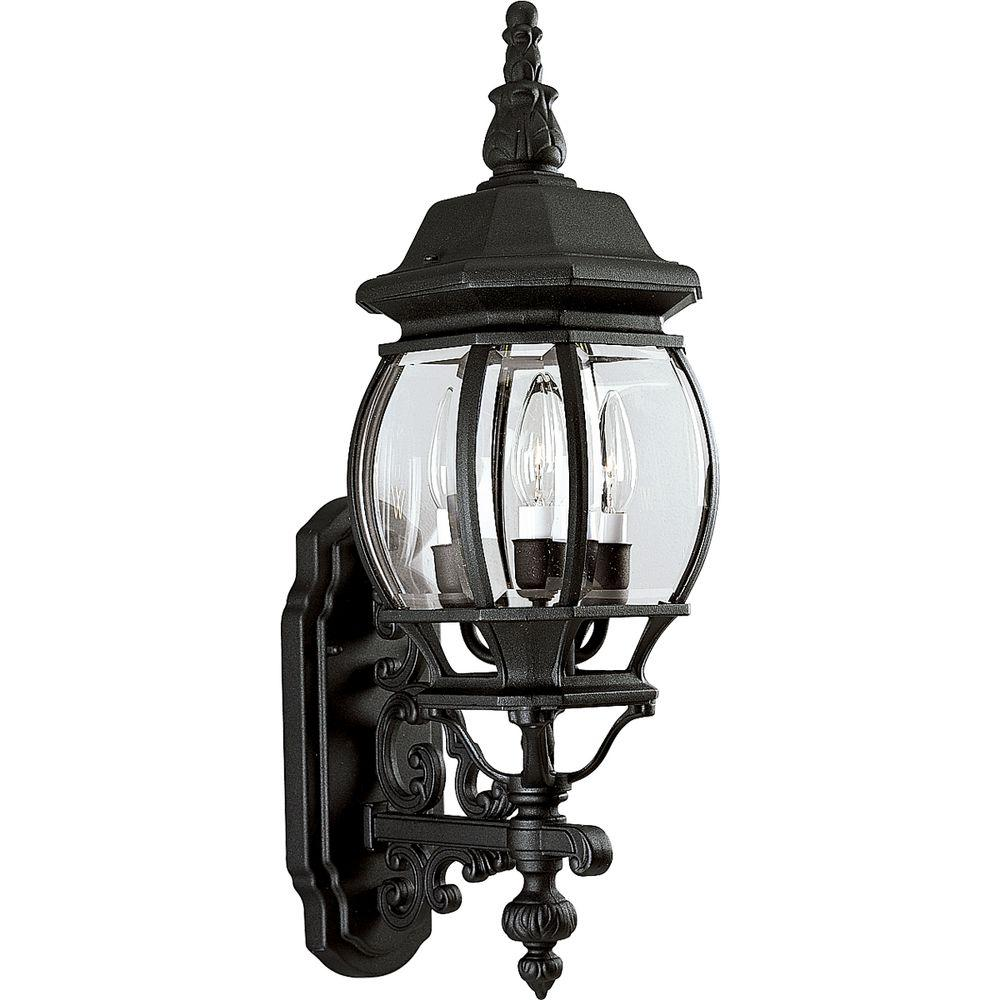 Progress Lighting Onion Lantern Collection 3 Light Outdoor Textured Black  Wall Lantern