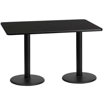 30 in. x 60 in. Rectangular Black Laminate Table Top with 18 in. Round Table Height Bases