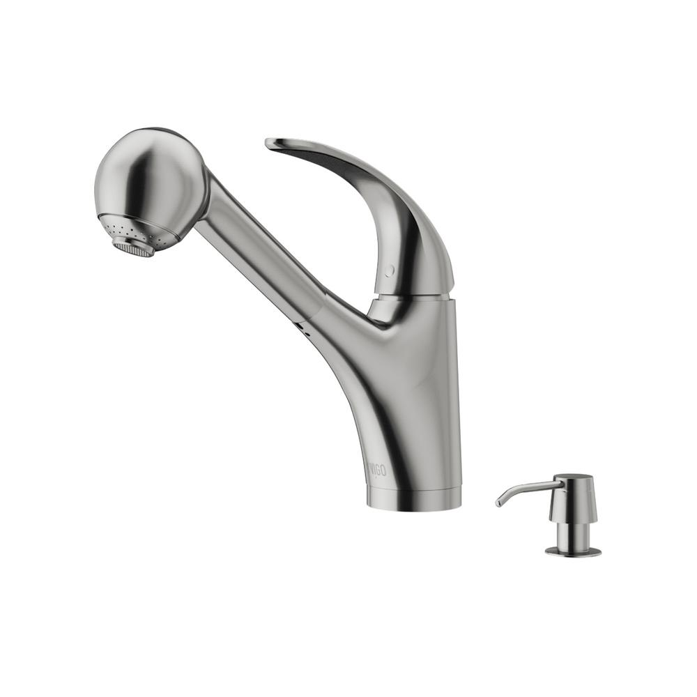 Vigo Alexander Single Handle Pull Out Sprayer Kitchen Faucet With Soap Dispenser In Stainless