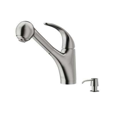 Alexander Single-Handle Pull-Out Sprayer Kitchen Faucet with Soap Dispenser in Stainless Steel