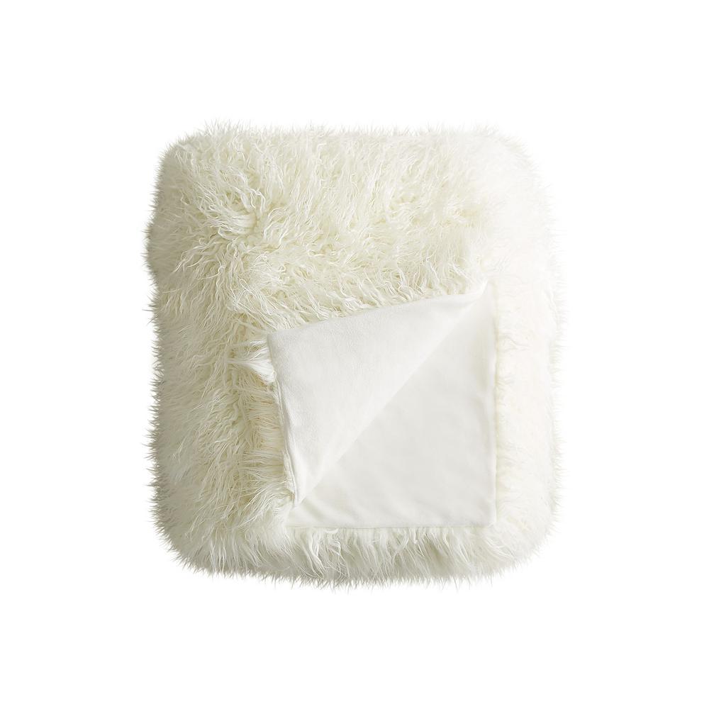Plano Stone White 50 in. x 70 in. Mongolian Sheepskin Faux Fur Indoor Throw