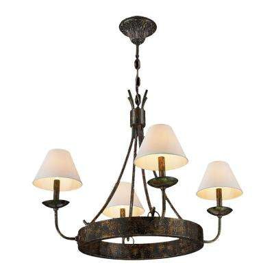 Andorra 4-Light Antique Bronze with Natural Shades Large Chandelier