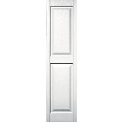 15 in. x 59 in. Raised Panel Vinyl Exterior Shutters Pair in #117 Bright White