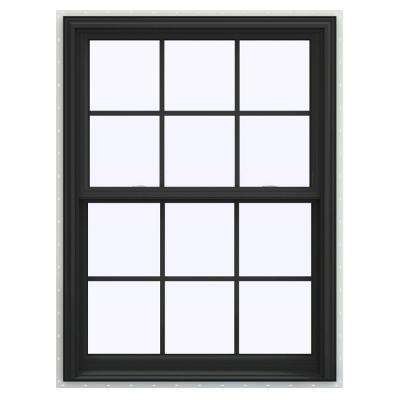 36 in. x 54 in. V-2500 Series Bronze FiniShield Vinyl Double Hung Window with Colonial Grids/Grilles