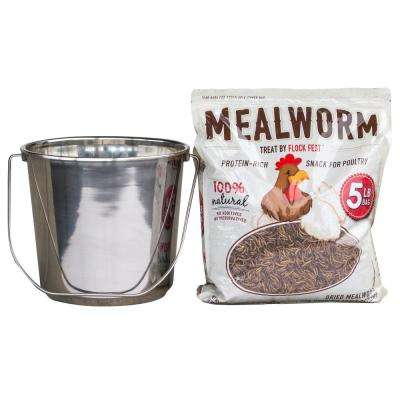 5 lbs. Bag Dried Mealworms with Stainless Steel Feeder Bucket