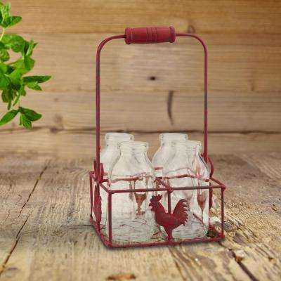 5 in. x 9 in. Small Milk Bottles in Metal Rooster Container with Wood Handle (Set of 4)