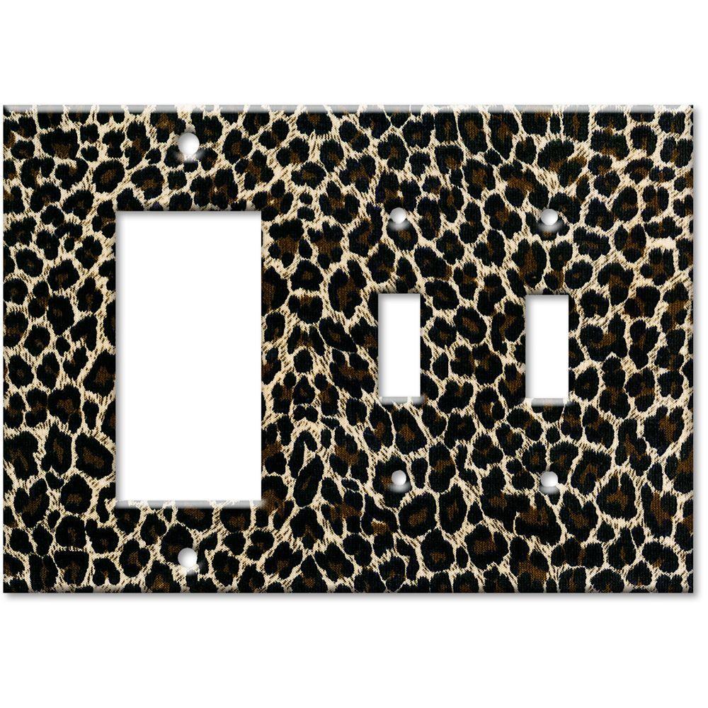 Art Plates Leopard Print Rocker/2 Switch Combo Wall Plate