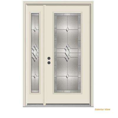 52 in. x 80 in. Full Lite Kingston Primed Steel Prehung Right-Hand Inswing Front Door with Left-Hand Sidelite