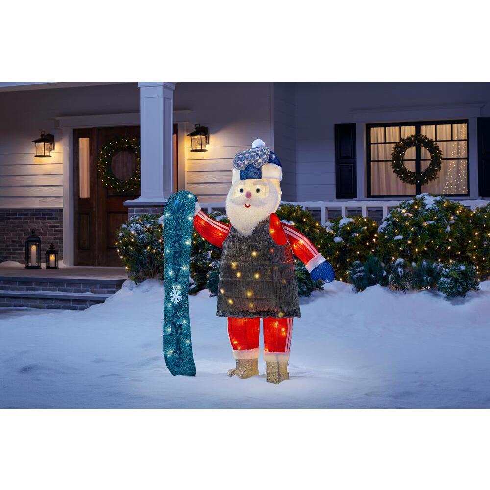 4 ft Yuletide Lane LED Santa with Snowboard