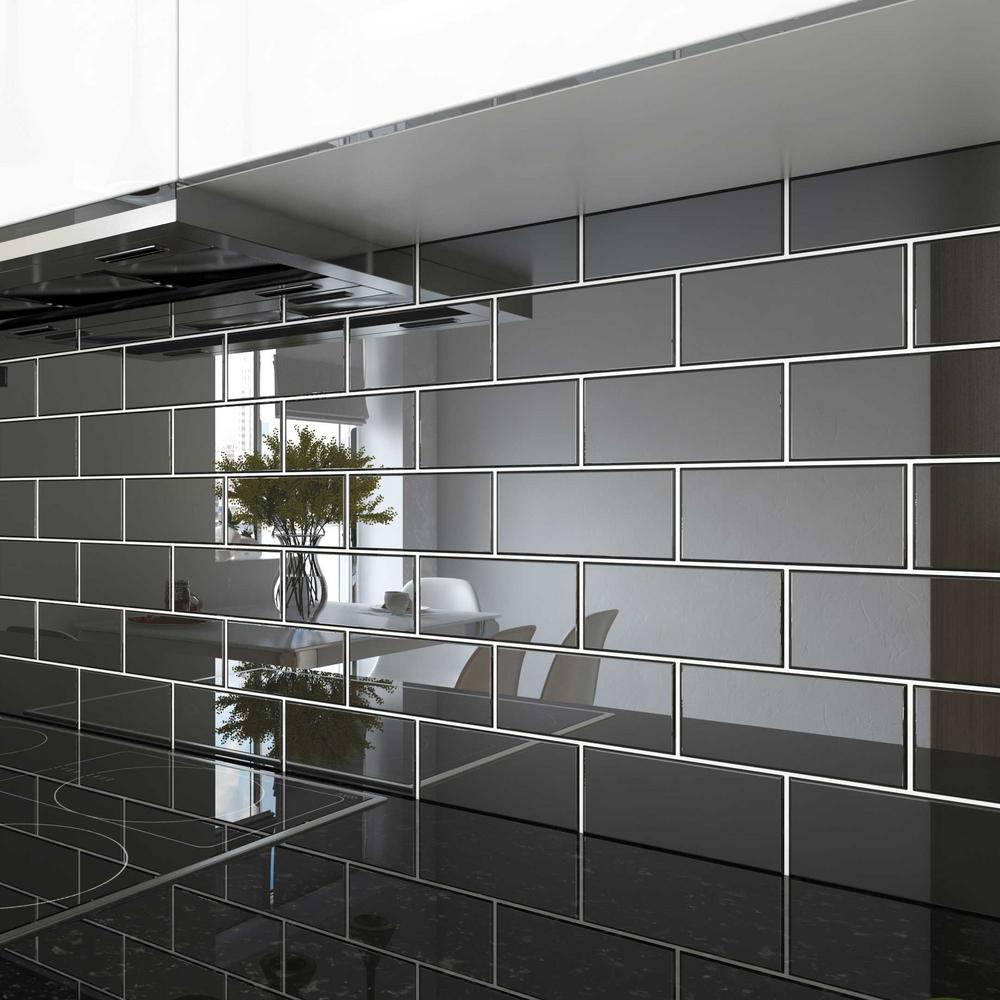 Black 3 in. x 6 in. x 8 mm Glass Subway Tile (5.5 sq. ft./case)