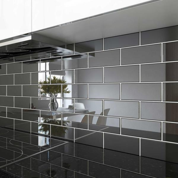 Giorbello Black 3 In X 6 In X 8 Mm Glass Subway Tile 5 Sq Ft Case G5913 The Home Depot