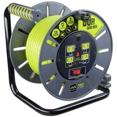 80 ft. 13 Amp 14 AWG Large Open Cable Reel with 4-Sockets
