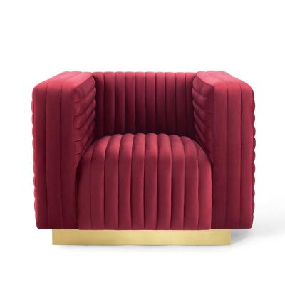 Charisma Maroon Channel Tufted Performance Velvet Accent Armchair