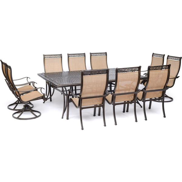 Manor 11-Piece Sling Outdoor Dining Set with 4 Swivel Rockers