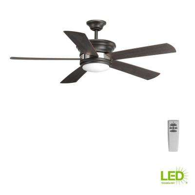 Harranvale Collection 54 in. LED Indoor Graphite Industrial Ceiling Fan with Light Kit and Remote