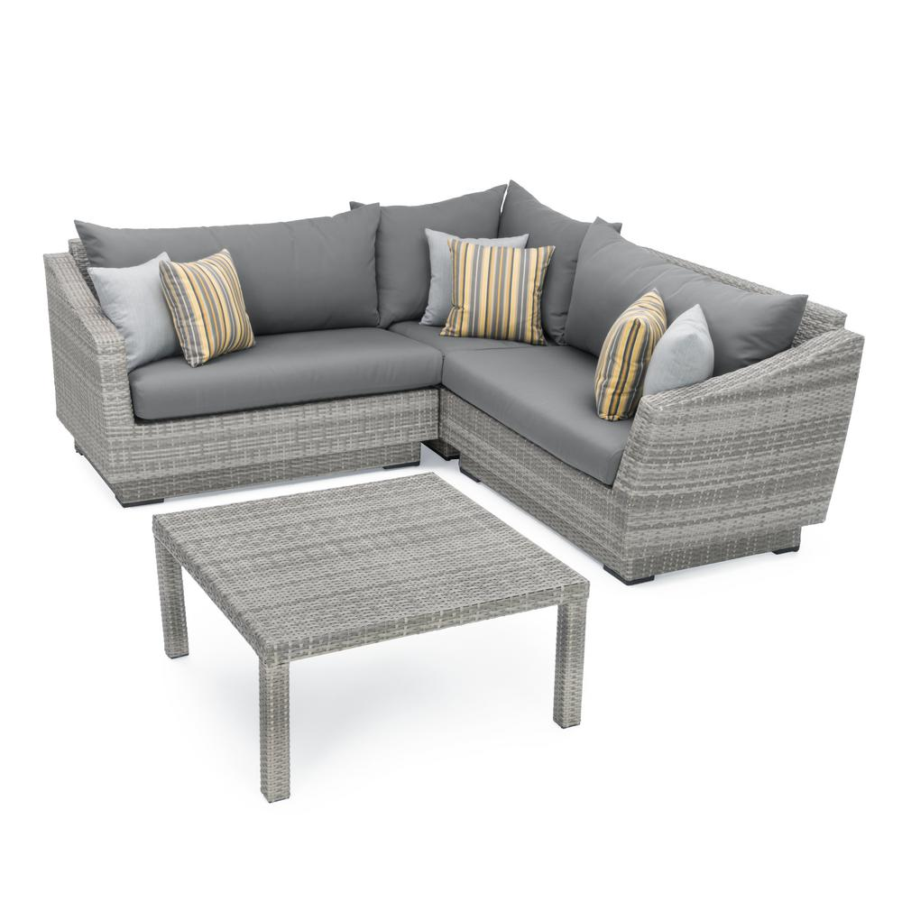 Rst Brands Cannes 4 Piece Patio Corner Sectional Set With Charcoal Grey Cushions