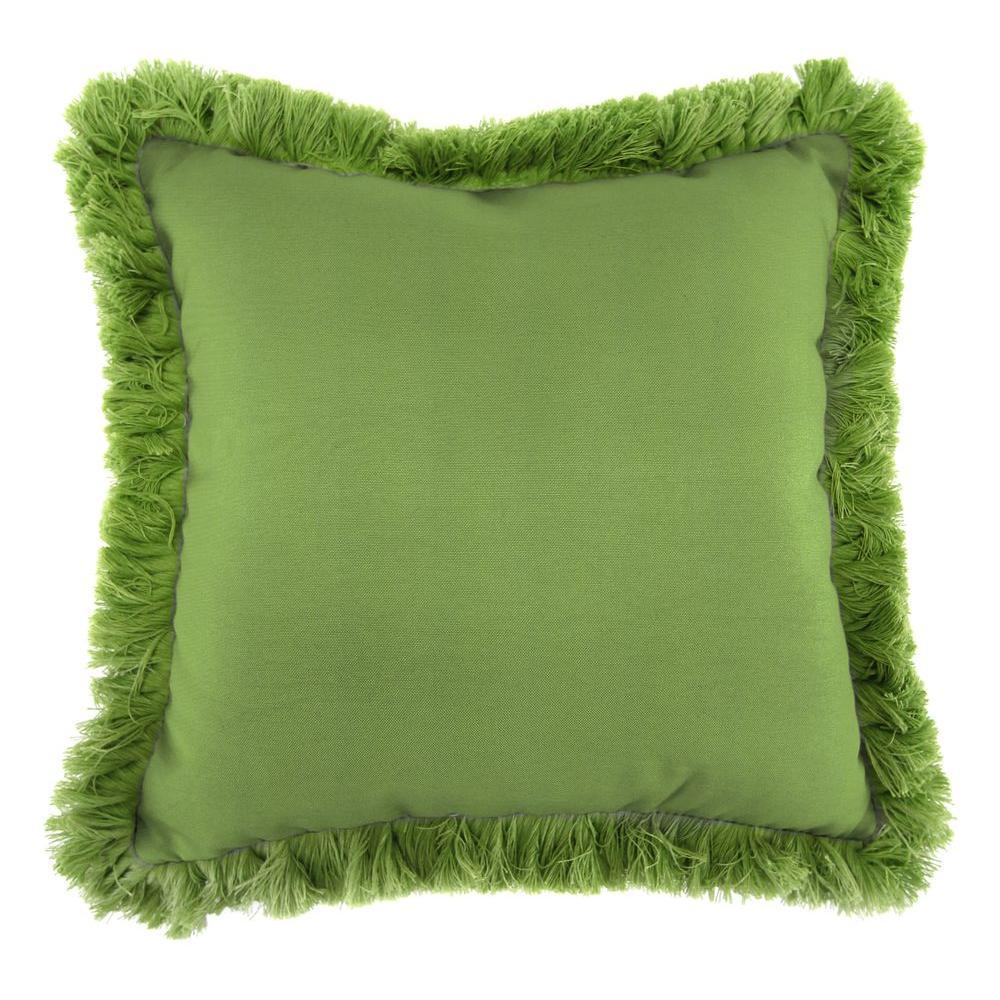 Sunbrella Canvas Gingko Square Outdoor Throw Pillow with Gingko Fringe