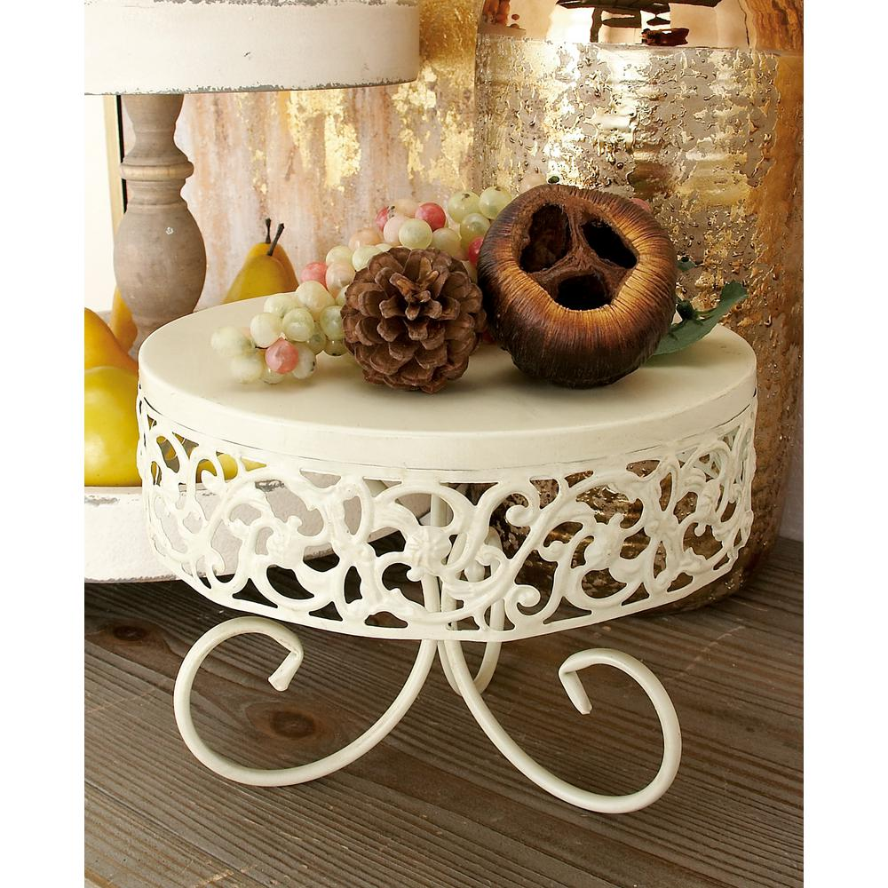 Off-White Iron Round Cake Stands with Ornate Cutout Flourish Overhand and