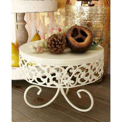 Off-White Iron Round Cake Stands with Ornate Cutout Flourish Overhand and Scrolled Feet (Set of 3)