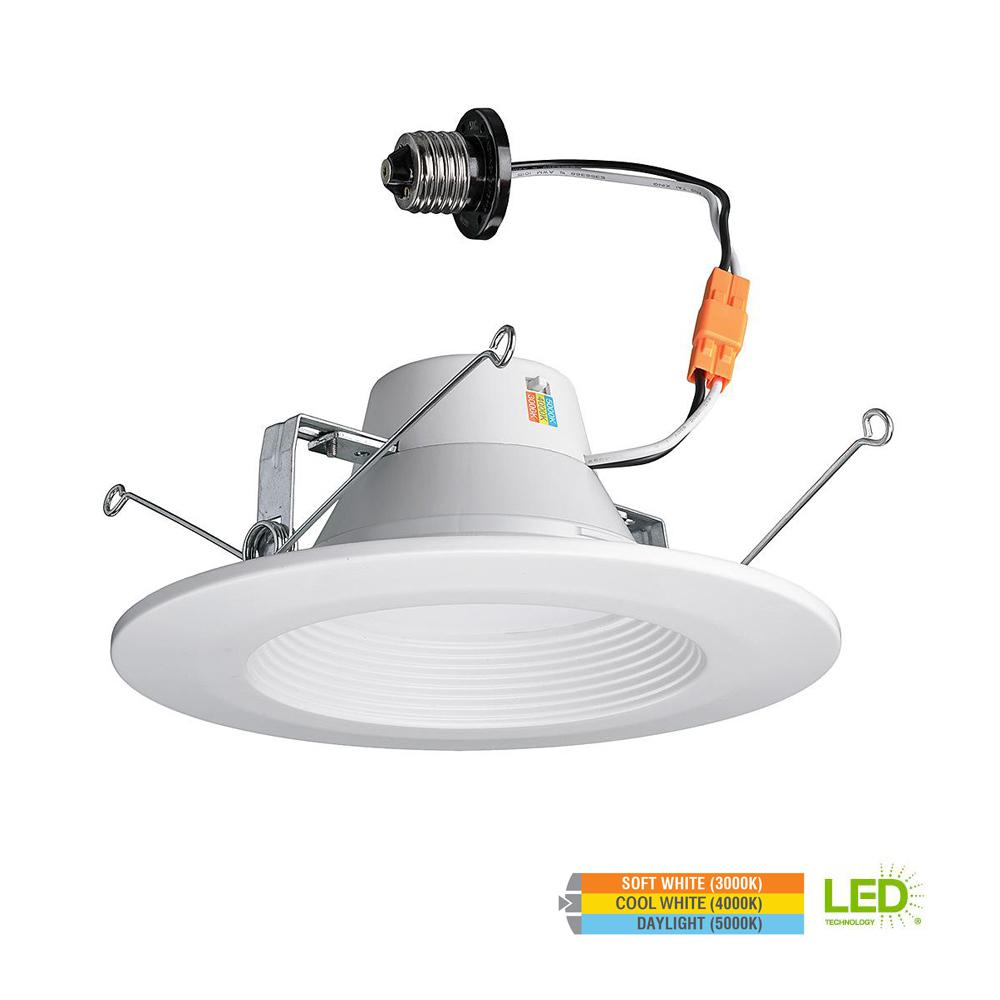 Commercial Electric 5 in. and 6 in. 65w Equivalent White LED Recessed Trim with Color Temperature Changing Feature