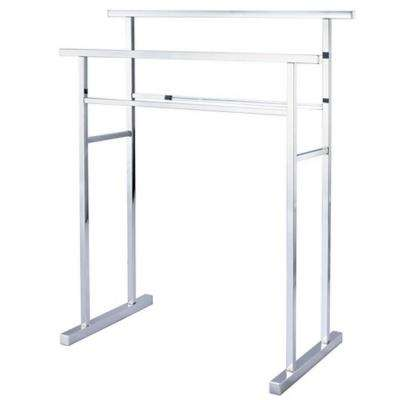 European Pedestal Iron Construction Towel Rack in Polished Chrome