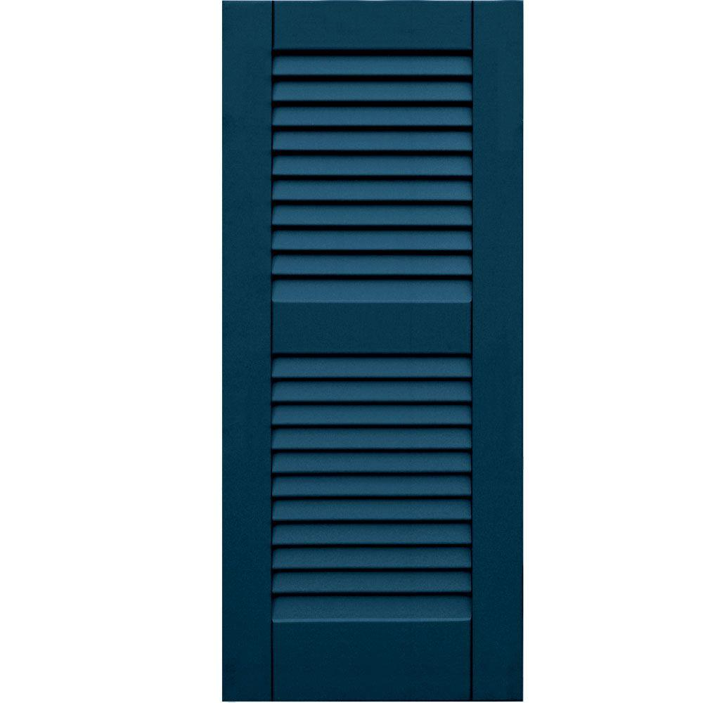 Winworks Wood Composite 15 in. x 35 in. Louvered Shutters Pair #637 Deep Sea Blue